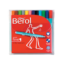 Berol Colourfine Felt Pen Set of 12 Assorted