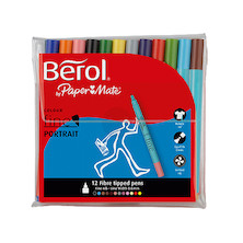 Berol Colourfine Portrait Felt Pen Wallet of 12