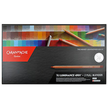Caran d'Ache Luminance 6901 Box of 76 Assorted Coloured Pencils + 2 blenders