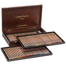 Caran d'Ache Luminance 6901 Wooden Box of 76 Assorted Coloured Pencils, 2 Blenders + 2 Grafwood Pencils