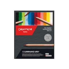 Caran d'Ache Luminance 6901 Professional Permanent Colour Pencil Box of 12 Assorted