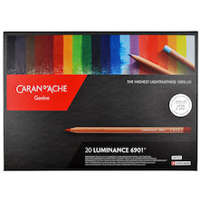 Caran d'Ache Luminance 6901 Professional Permanent Colour Pencil Box of 20 Assorted