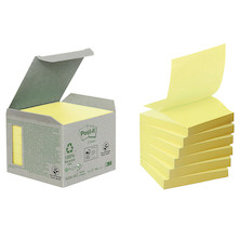 Post-it Recycled Z-Notes Tower Canary Yellow Set of 6