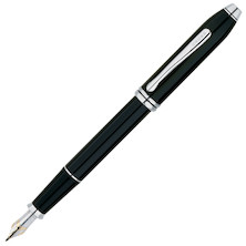 Cross Townsend Fountain Pen Black Lacquer Rhodium Trim