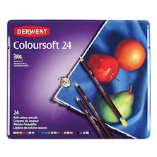 Derwent Coloursoft Coloured Pencil Tin of 24