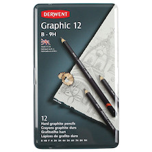 Derwent Graphic Graphite Pencil Tin of 12 Hard Grades