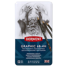 Derwent Graphic Graphite Pencil Tin of 12 Medium Grades