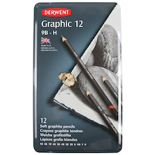 Derwent Graphic Graphite Pencil Tin of 12 Soft Grades