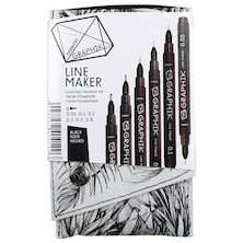 Derwent Graphik Line Maker Black Set of 6