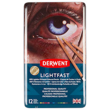 Derwent Lightfast Coloured Pencils Tin of 12