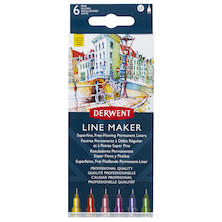 Derwent Line Maker Drawing Pen Colour Set of 6