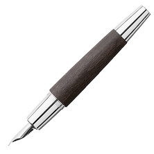 Faber-Castell e-motion Fountain Pen Chrome and Black Pearwood