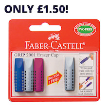 Faber-Castell Grip 2001 Eraser Cap Pack of 3 Plus 1 Free