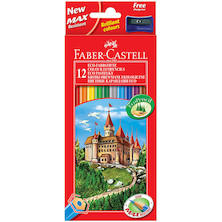 Faber-Castell Eco Colouring Pencils Box of 12 + Free Sharpener