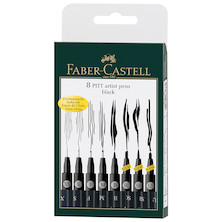 Faber-Castell Pitt Artist Pen Black Set of 8 Assorted Sizes