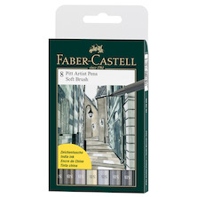 Faber-Castell Pitt Artist Pen Soft Brush Shades of Grey Set of 8