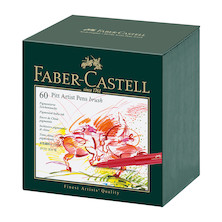 Faber-Castell Pitt Artist Brush Pen Gift Box of 60 Assorted
