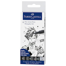 Faber-Castell Pitt Artist Pen Mangaka Black Set of 6