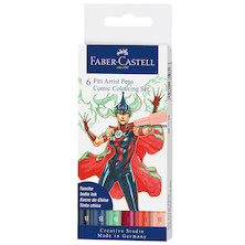 Faber-Castell Pitt Artist Pen Comic Illustration Colours Set of 6