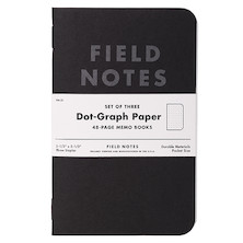 Field Notes Pitch Black Dot Grid Pocket Notebook Set of 3