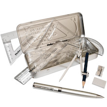 Helix Oxford Metallics Maths Set with Ballpoint Pen Silver