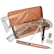 Helix Oxford Metallics Maths Set with Ballpoint Pen Rose Gold