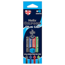 Helix Oxford Plus Gel Pen Set of 4 Assorted