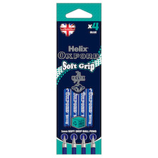 Helix Oxford Soft Grip Pen Set of 4 Blue