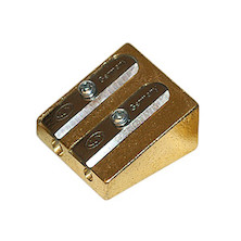 KUM Brass Wedge Double Hole Sharpener 300-2