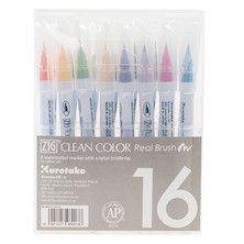 Kuretake Zig Clean Color Real Brush Pen RB-6000A Primary Colour Set of 16