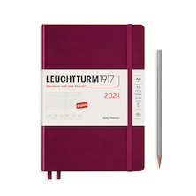 Leuchtturm1917 Daily Planner 2021 Medium Port Red