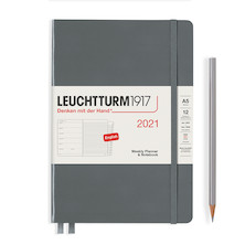 Leuchtturm1917 Weekly Planner & Notebook 2021 Hardcover Medium Anthracite