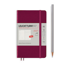 Leuchtturm1917 Weekly Planner & Notebook 2021 Softcover Pocket Port Red