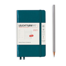 Leuchtturm1917 Weekly Planner & Notebook 2021 Hardcover Pocket Pacific Green