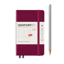 Leuchtturm1917 Weekly Planner & Notebook 2021 Hardcover Pocket Port Red