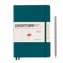 Leuchtturm1917 Weekly Planner 2021 Hardcover Medium Pacific Green