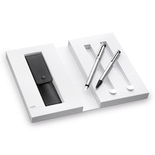 Lamy logo Matt Steel Fountain Pen and Ballpoint Pen Gift Set