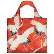 LOQI Shopping Bag White and Red Cranes