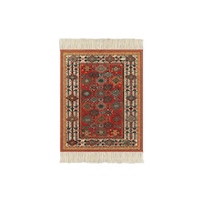 CoasterRug Set of 4 Red/Geometric Shekarlu