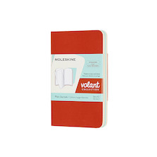 Moleskine Volant Journal Extra Small Set of 2 Coral Orange/Aquamarine Blue