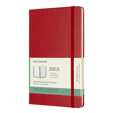 Moleskine Hardcover Large Weekly 18 Month Diary 2020-2021 Scarlet Red