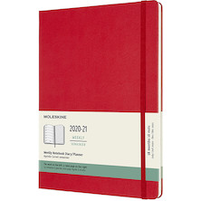 Moleskine Hardcover Extra Large Weekly 18 Month Diary 2020-2021 Scarlet Red