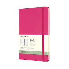 Moleskine Weekly Diary 2021 Hardcover Large Bougainvillea Pink