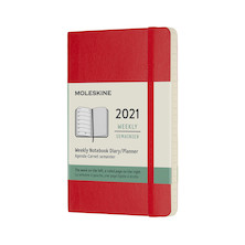 Moleskine Weekly Diary 2021 Softcover Pocket Scarlet Red