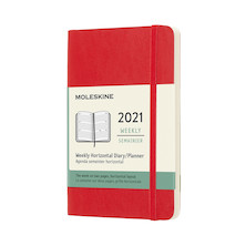 Moleskine Weekly Diary 2021 Softcover Horizontal Pocket Scarlet Red