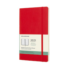 Moleskine Weekly Diary 2021 Softcover Horizontal Large Scarlet Red