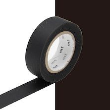 mt Washi Masking Tape - 15mm x 10m - Matte Black