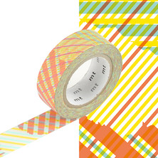 mt Washi Masking Tape - 15mm x 10m - Stripe-Checked Red