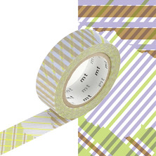 mt Washi Masking Tape - 15mm x 10m - Stripe-Checked Green