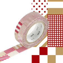 mt Washi Masking Tape - 15mm x 10m - Mix Red